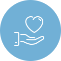 Blue Circle Icon of Heart over Hand