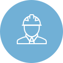 Blue Circle Icon of Man in Hardhat