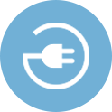 Blue and White EV Charging Icon