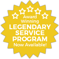 Yellow Starburst Image: Award Winning - Legendary Service Program - Now Available Text